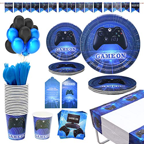 188 Piece-Video Game Party Supplies Birthday Party Favors Gamer Birthday Party Supplies Including Paper Plates,Cups…