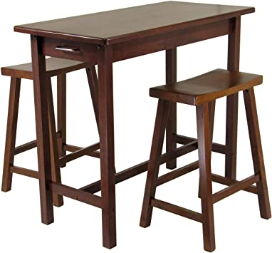 Winsome Kitchen Island Table With 2 Drawers And Saddle Stools 3 Piece Kitchen Islands Carts