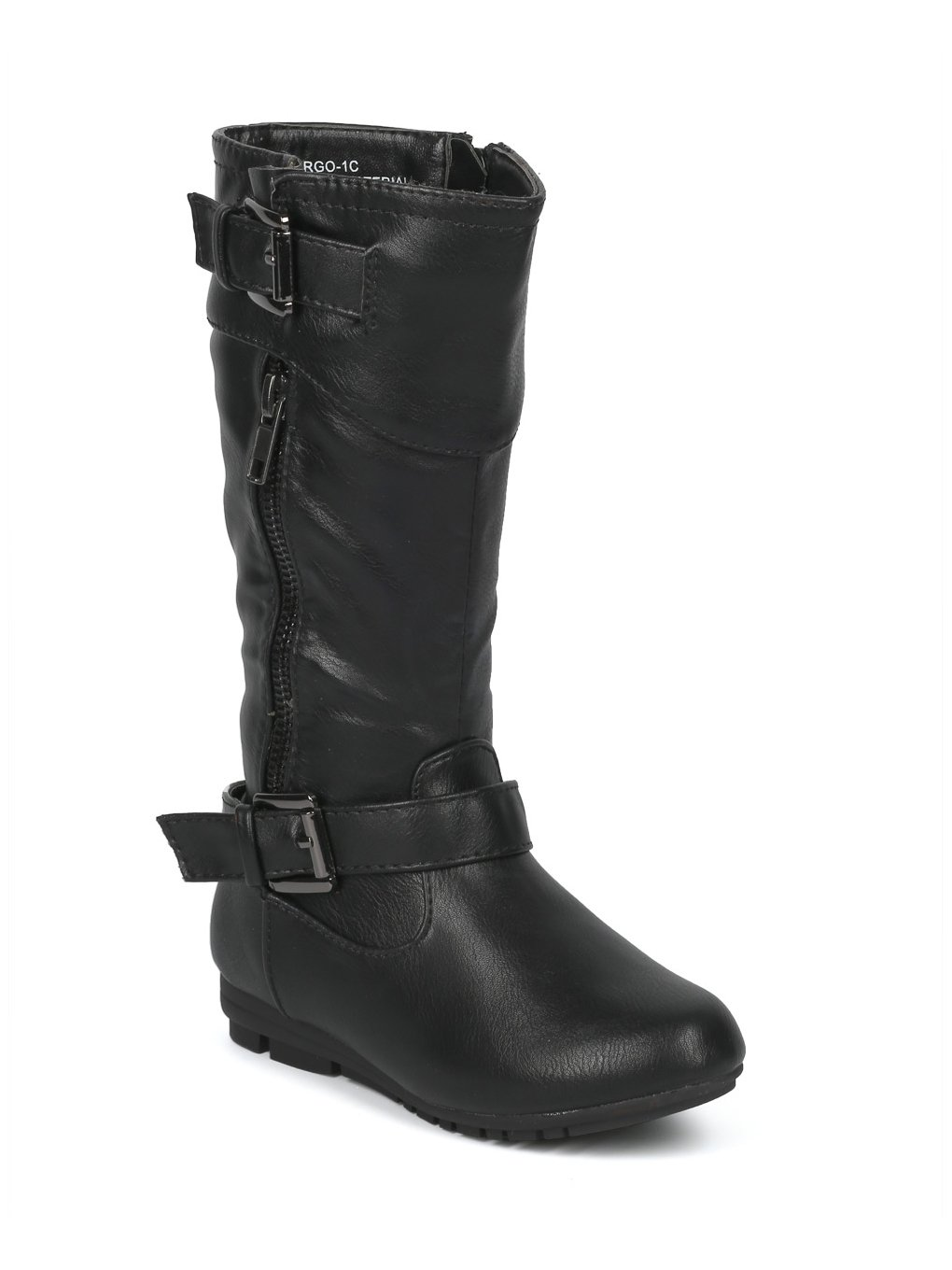 Alrisco Girls Leatherette Buckled Tall Riding Boot HF94 - Black Leatherette (Size: Little Kid 11)