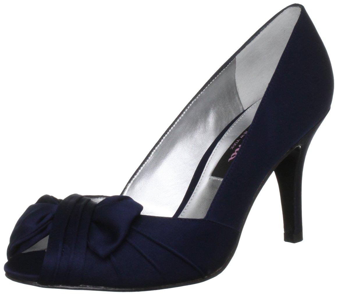 Nina Women's Forbes Satin Peep-Toe Pump B003VEBFH4 6 B(M) US|New Navy Satin