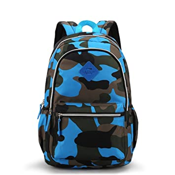 Camo Tactical Backpack for Military Fans Kids Boys Girls and Adults Men Women (Blue)
