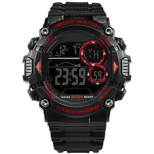 Reloj Hombres Reloj Deportivo Digital para Hombre Reloj Retroiluminado Impermeable De Goma con Luz LED para Hombre (Color : Black Red): Amazon.es: Relojes