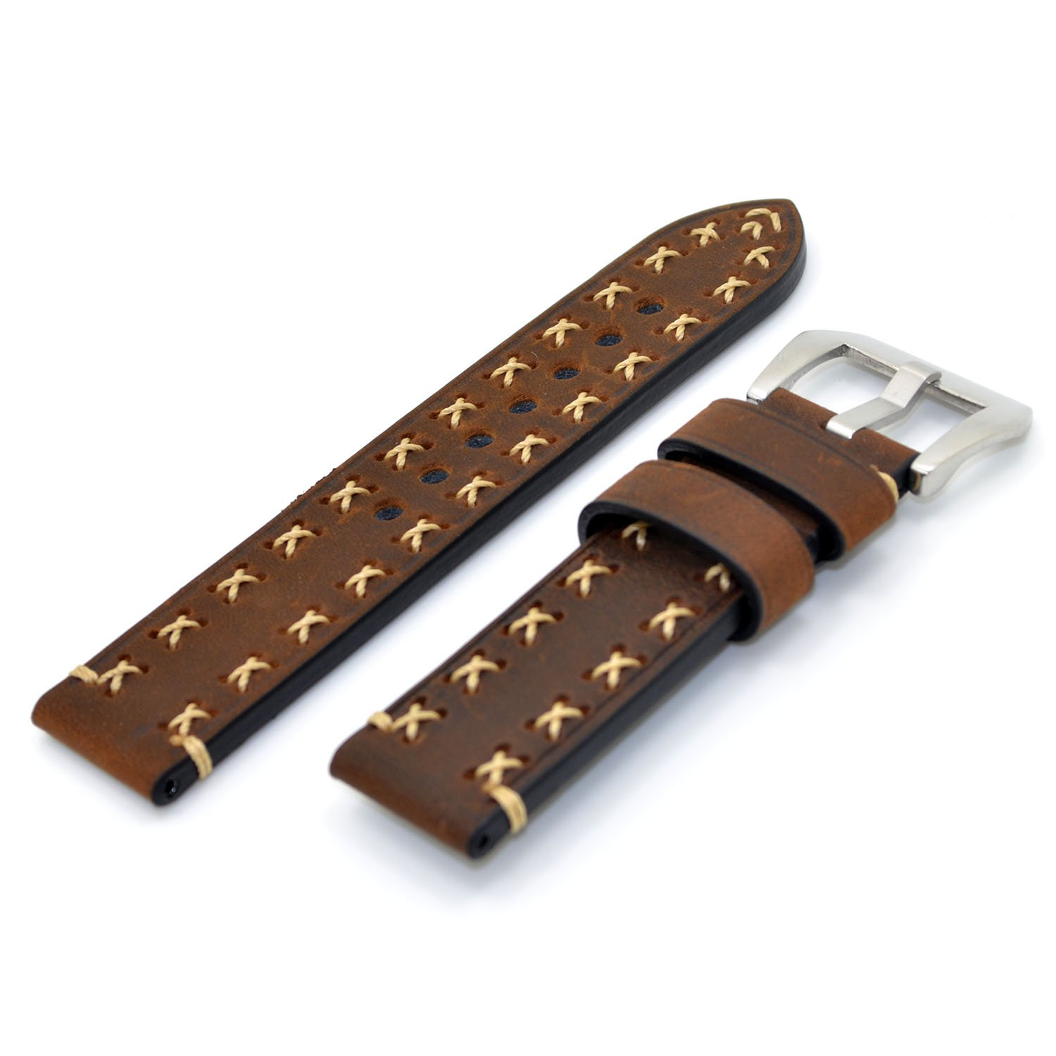22mm Dark Brown Watch Band Italy Calf Leather Handmade Strap for Panerai Watch, LG Smart Watch, Pebble Time Watch and Regular wrist watch