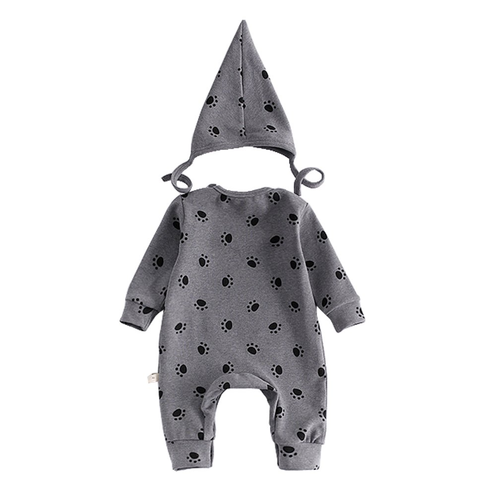 Ding Dong Baby Boy Girl Cotton Long Sleeve Romper with Hat 2 Pieces Outfit