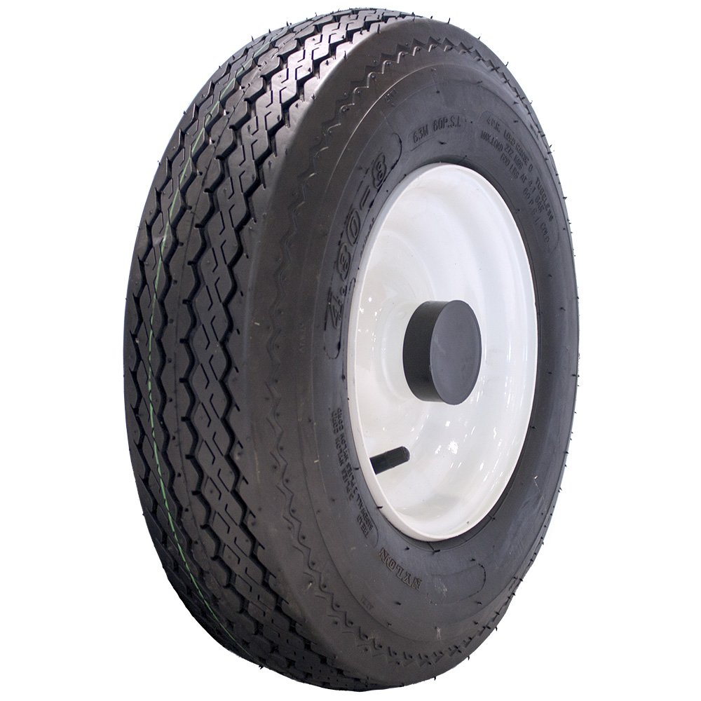 MARASTAR 4.80-8 LRB Bias Trailer Tire Mounted on White Solid Wheel with 1 Bore 80151