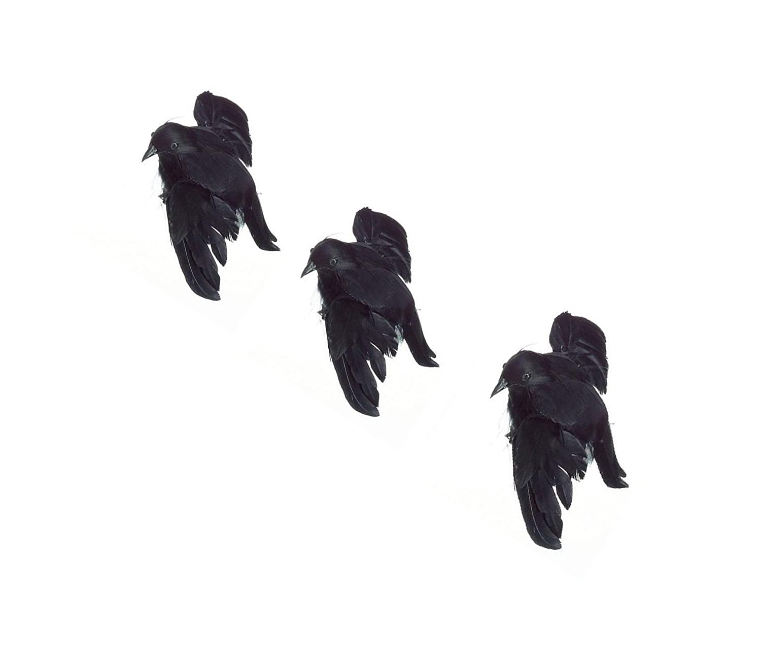 amazoncom package of 3 artificial black feather halloween flying crows 4 34 long beak to tail home kitchen - Halloween Crows
