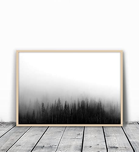 Forest print forest photography woodland print black and white forest forest art