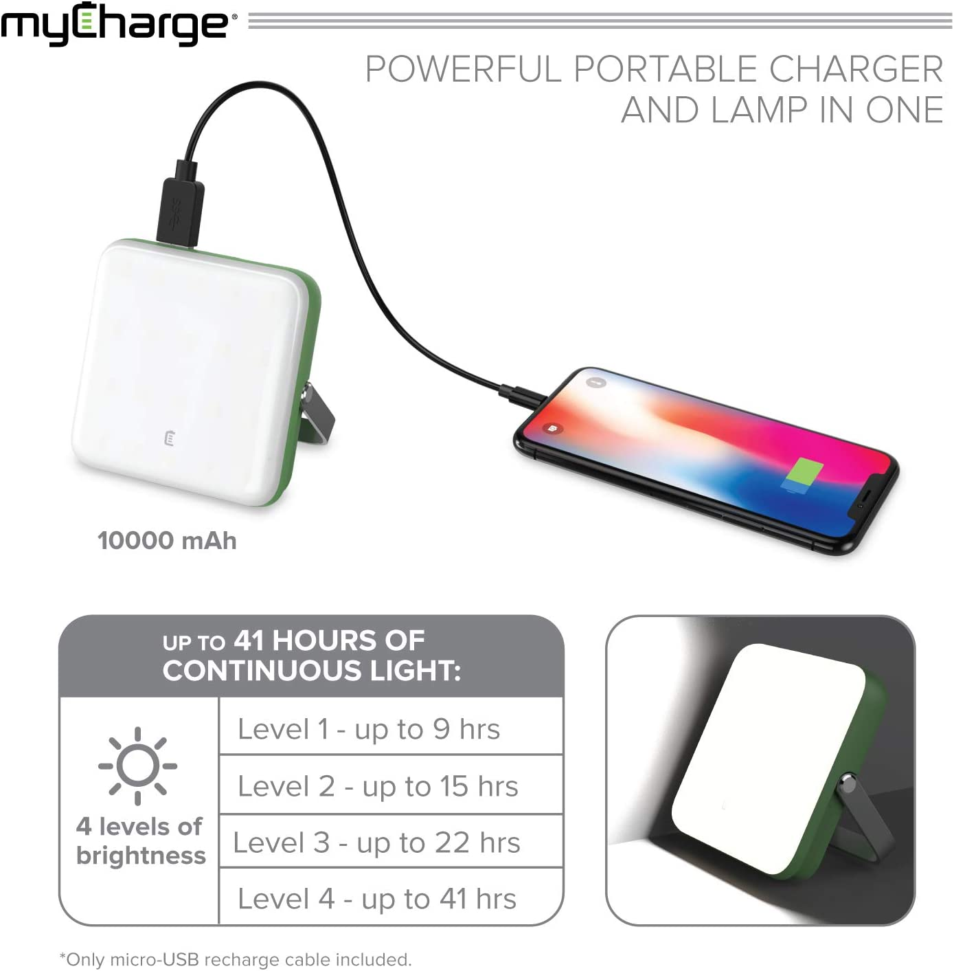 40 HR Lamp Runtime // 4 Light Settings myCharge Camping Lantern Power Bank 10,000 mAh Adventure Portable Charger Rechargeable LED Phone Charger Battery Pack 2 USB Ports // 2.4A Max
