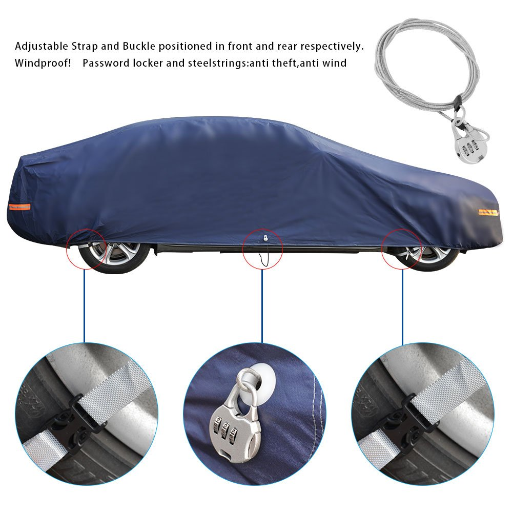 Dark Blue YITAMOTOR All Weather Waterproof Car Cover with Lock Universal Fit UV Protection Dust Snow Heat Resistant Outdoor Protector Fits Cars up to 188 inches