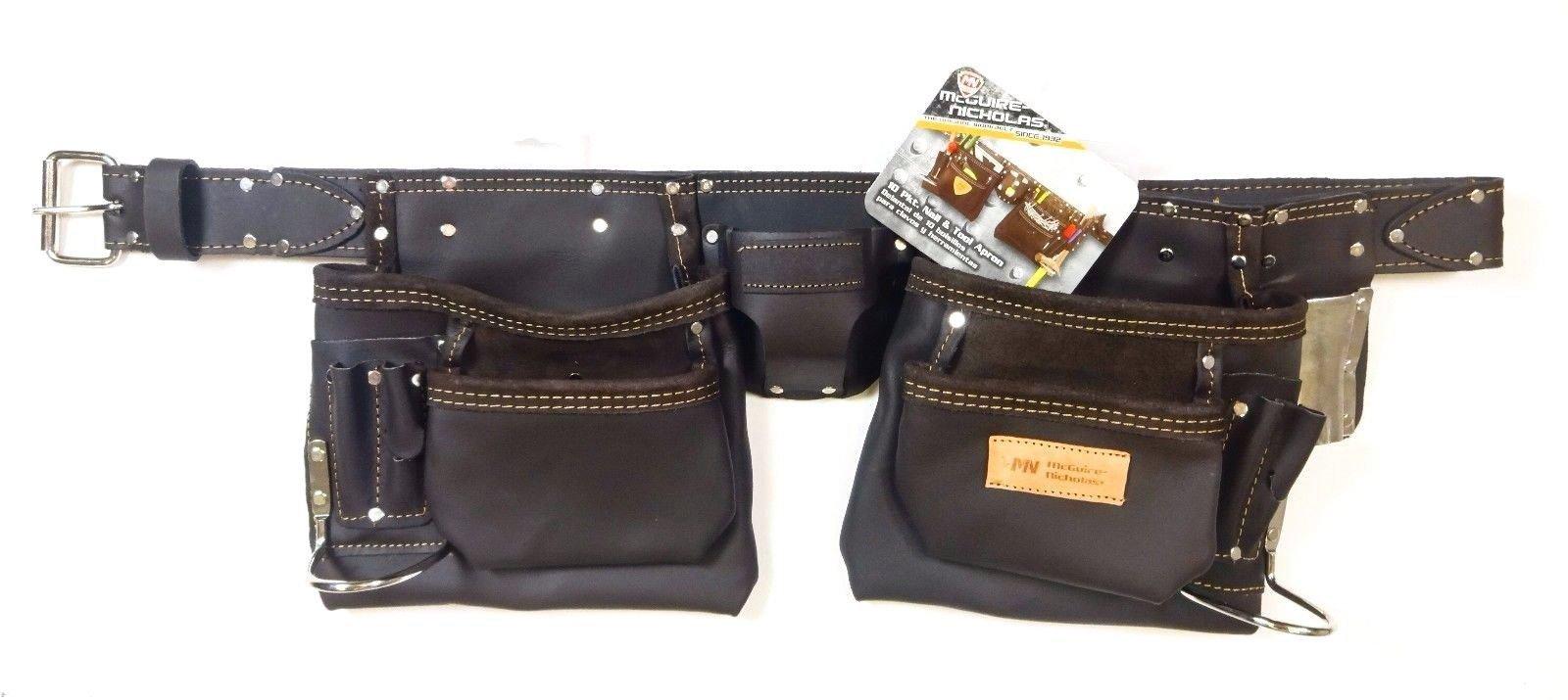McGuire-Nicholas 10-Pocket Full Grain Leather Nail & Tool Apron Carpenter Belt