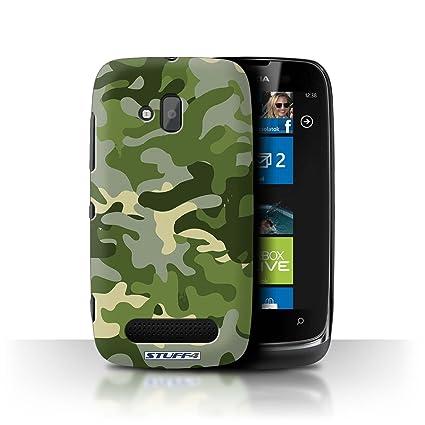Carcasa/Funda STUFF4 dura para el Nokia Lumia 610 / serie: Marina camuflaje del ejército - Verde 1