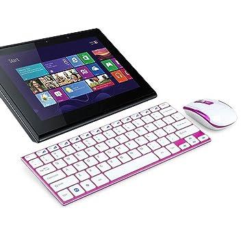 Teclado y Ratón pijama, Oyedens 2.4 GHz mini-métal estrecho teclado inalámbrico y kit de ratón para PC portátil - Rosa Vif: Amazon.es: Informática