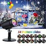 TOFU Holiday Lights Projector, LED Waterproof Star Rotating Snowflake Motion Shower Landscape Projection Slide Show Lighting Display for Holiday House Garden Birthday Halloween Party Xmas Decorations