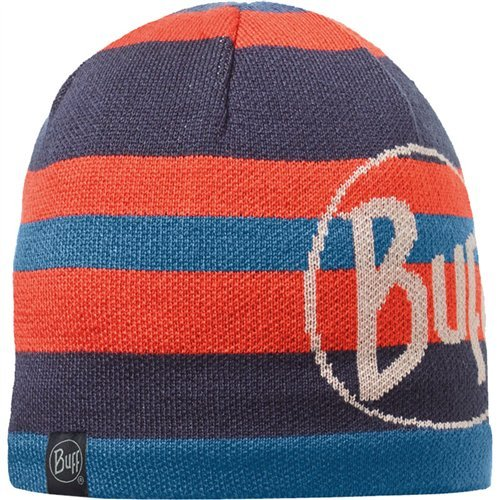 Buff Adult Knitted & Polar Patterned Beanie Hat One Size Ovel Blue