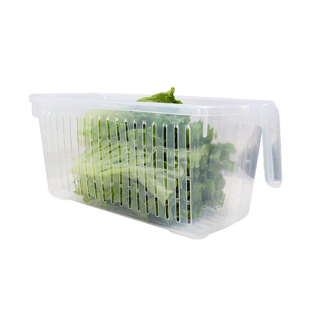 スリーピース収納ボックスキッチン冷蔵庫透明プラスチックハンドル排水バスケット13 * 15 * 29.3cm B078BFSK7P