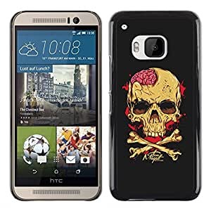 Paccase / SLIM PC / Aliminium Casa Carcasa Funda Case Cover - Black Brain Blood Crossbones Skull - HTC One M9