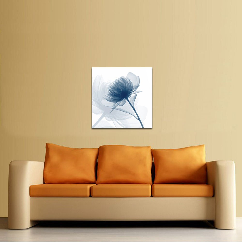 Amazon.com: Wieco Art Blue Flickering Flower Modern Abstract Canvas ...