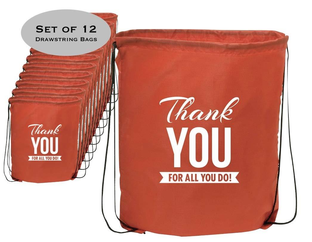 Set of 12 - Red Thank You Drawstring Bag/Teacher Thank You/Event Thank You Bag/Nurses Day Thanks for all You Do/Holiday Bag Thank You/