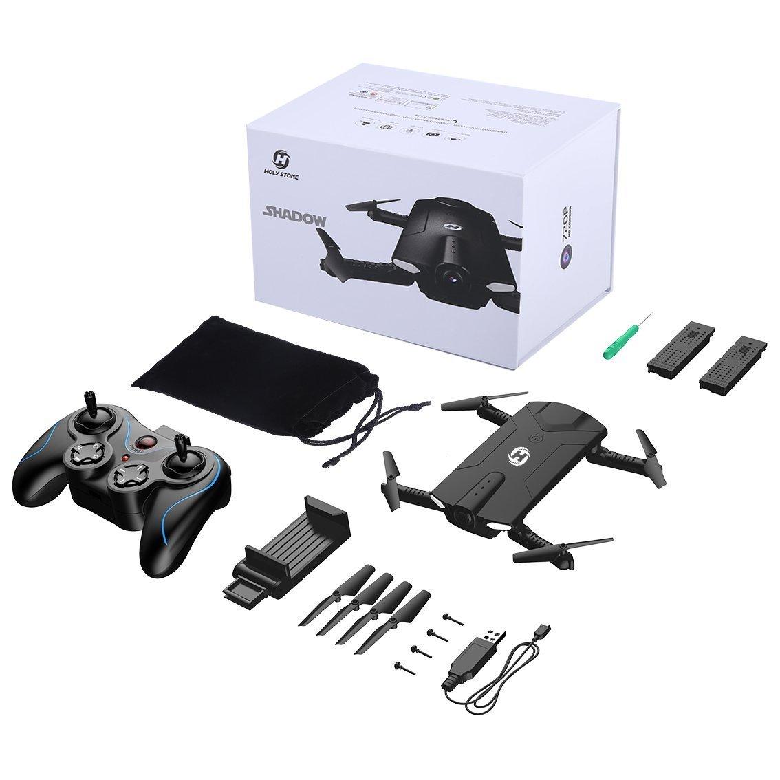 Holy Stone Drone Pieghevole FPV 720P HS160 Droni Tascabile con Telecamera HD Live Sistema di Stabilizzazione Quadricottero Remoto con Controllo Automatico Dellaltezza Nero 2 Batterie