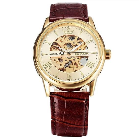 SEWOR reloj para hombre marca de esqueleto reloj automático para hombre famoso del deporte militar piel Watchbands marrón: Amazon.es: Relojes