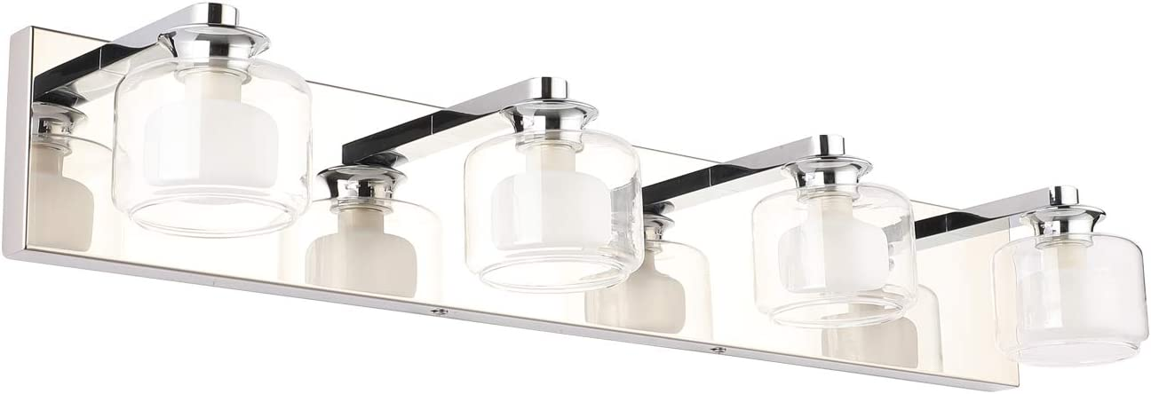 Amazon Com Pasoar Bathroom Vanity Lights 4 Light Modern Wall Sconce Fixtures 19 6 Bathroom Wall Light Sconces Stainless Steel Mirror Lighting Waterproof Ip44 Chrome Finishing With G9 Bulb Bulb Excluded Home Improvement