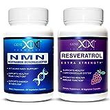 Genex NMN & Resveratrol Power Pack - Nicotinamide Mononucleotide Direct NAD+ Supplement 250mg Serving and Resveratrol 1500mg