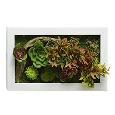 3D House Adornment Metope Wall Decoration Artificial Flowers Succulent plants wedding Decorations living Room White Frame 7.8 in 13.78 in