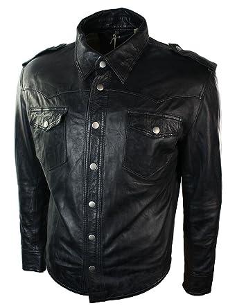 4cb77a437f4 Veste chemise homme cuir véritable marron clair noir coupe cintrée  décontracté rétro