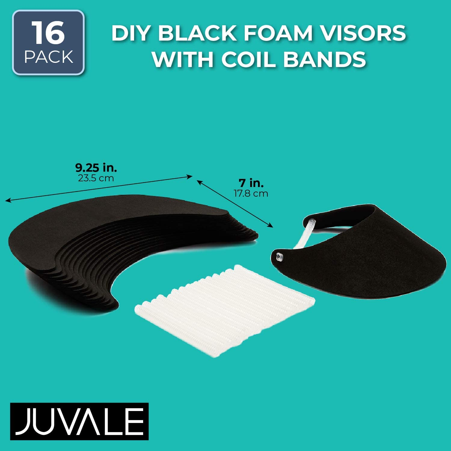 16 Pack Juvale Black and White Foam Visors with Coil Bands Bulk