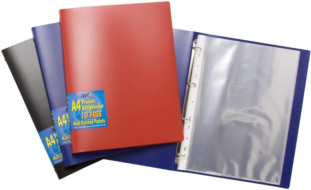 10 Punched Pockets FREE Project Display A4 Solid Slim Ring Binder Folder File