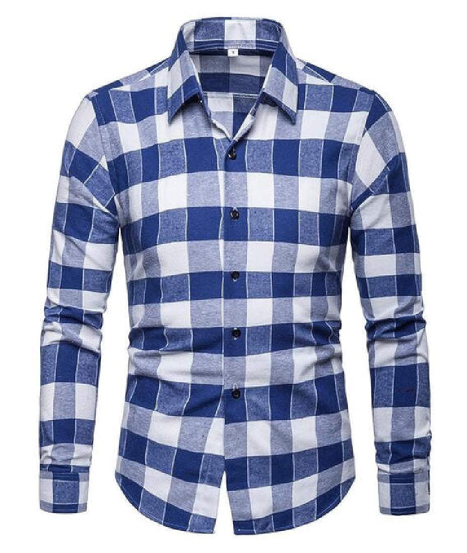 BYWX Men Checkered Casual Business Long Sleeve Slim Fit Button Down Dress Work Shirt