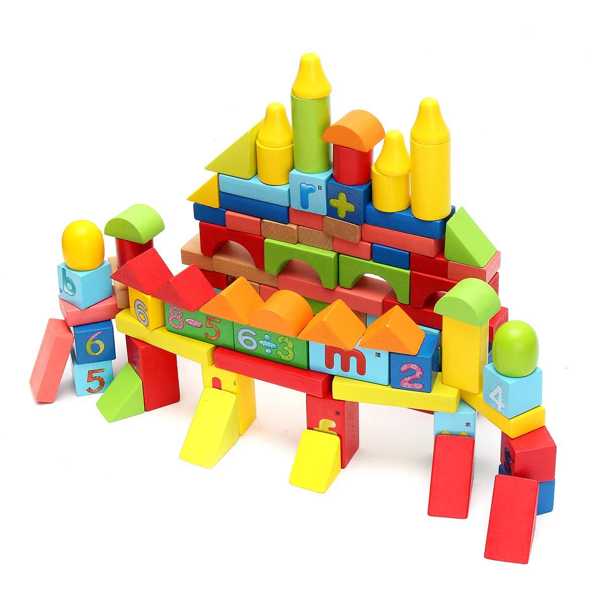 KING DO WAY 100 Bunte Bauklötze Kinder Spiellzeug Holz Bausteine Holzspielzeug, Lernspielzeug für Kleinkind Kinde, Kreatives Puzzle-Spielzeug KING DO WAY Co. LTD