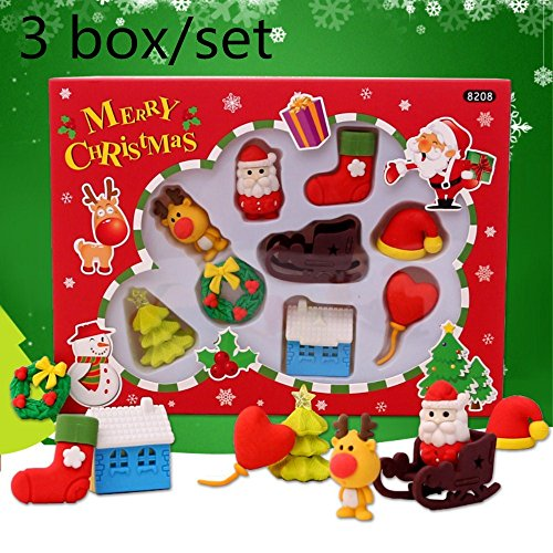 Wholesale 3 Box/Set Kawaii Cute Christmas elk Hat socks gift Santa Claus Shape Erasers For Child Student prize -