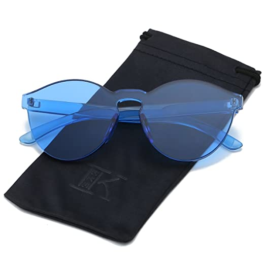 231955c0c584 LKEYE-Fashion Party Rimless Sunglasses Transparent Candy Color Eyewear  LK1737 Blue Frame