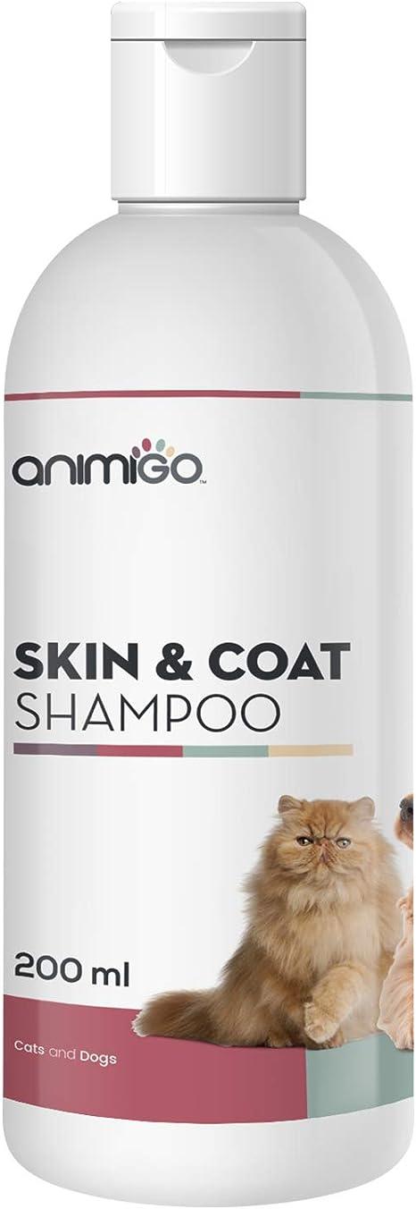 Animigo Champú Piel y Pelo para Gatos y Perros | Nutre, Limpia, Neutraliza el Olor y Protege la Piel y Pelo de tu Mascota | Hidratante para Todo Tipo de Pelo |