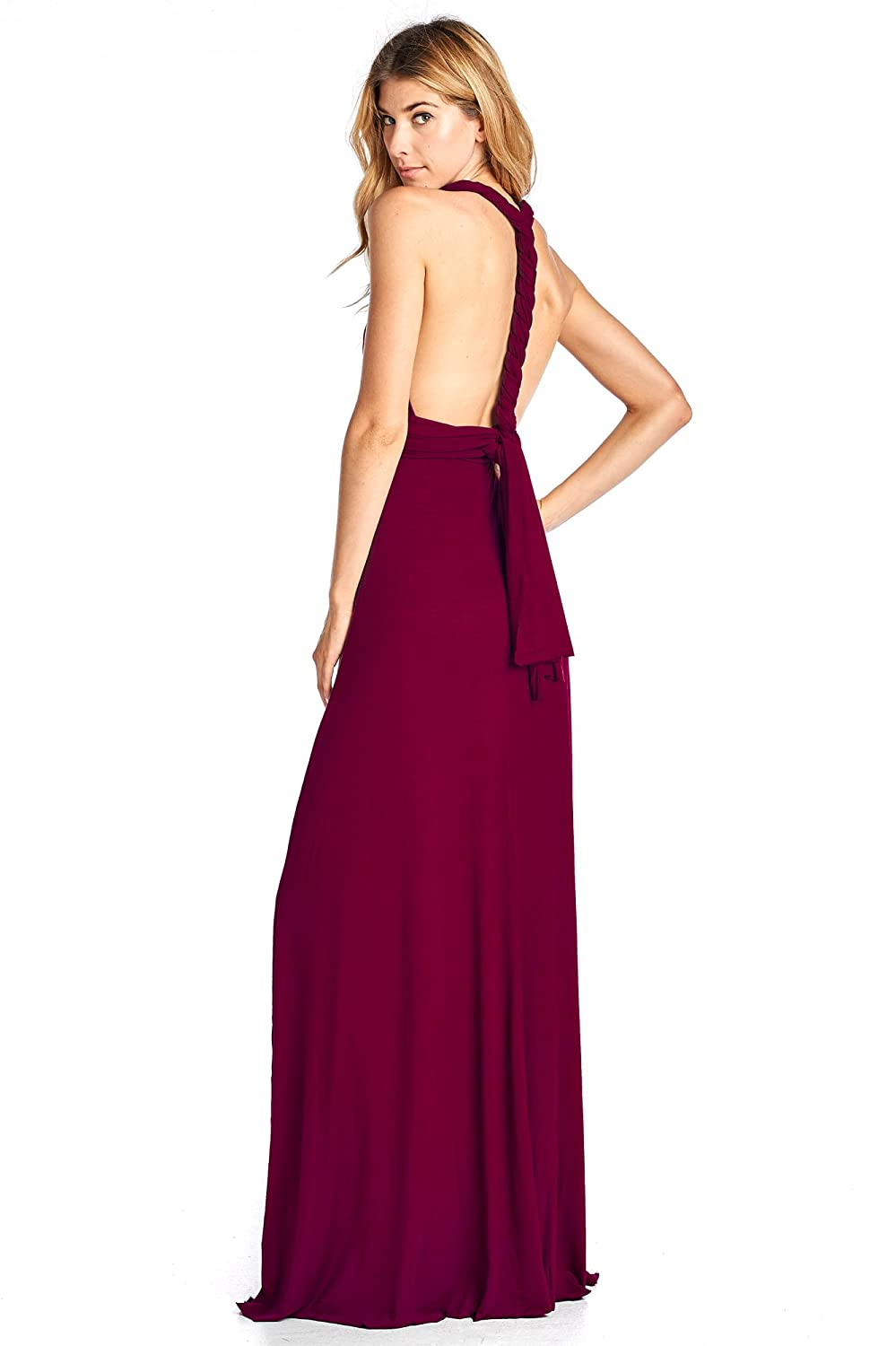 53963f78d8e 12 Ami Solid Convertible Multi Way Long T-Shirt Maxi Dress - Made In USA at  Amazon Women s Clothing store