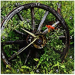3dRose Old Wagon Wheel in Historic Barkersville, British Columbia, Canada Wall Clock, 13 by 13