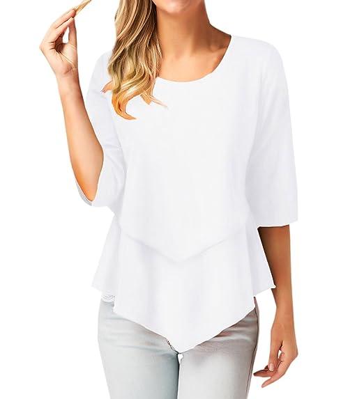 Primavera y Otoño Mujeres Casual Cuello Redondo Manga 3/4 Tops Blouses Camisetas Moda Hermoso Colores Lisos Irregular Camisas T-Shirt Blusa: Amazon.es: Ropa ...
