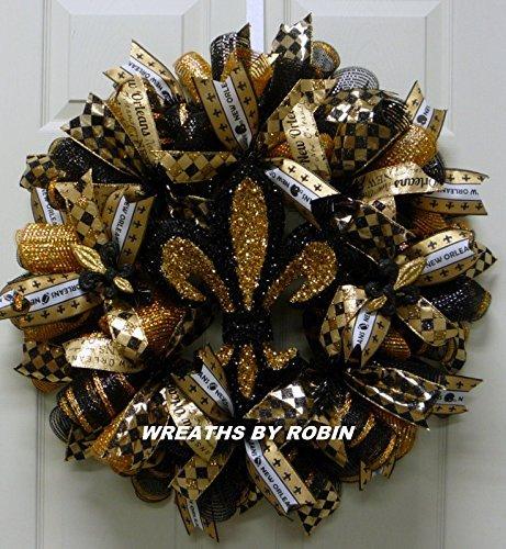 Wreath Nfl (New Orleans Wreath, Saints Wreath, Black Gold Wreaths(2149-2))