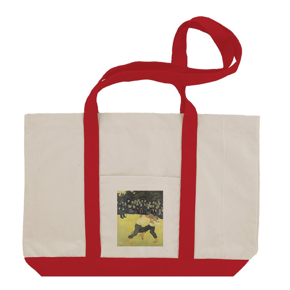Breton Wrestling (Paul Serusier) Cotton Canvas Boat Tote Bag Tote - Red by Style in Print