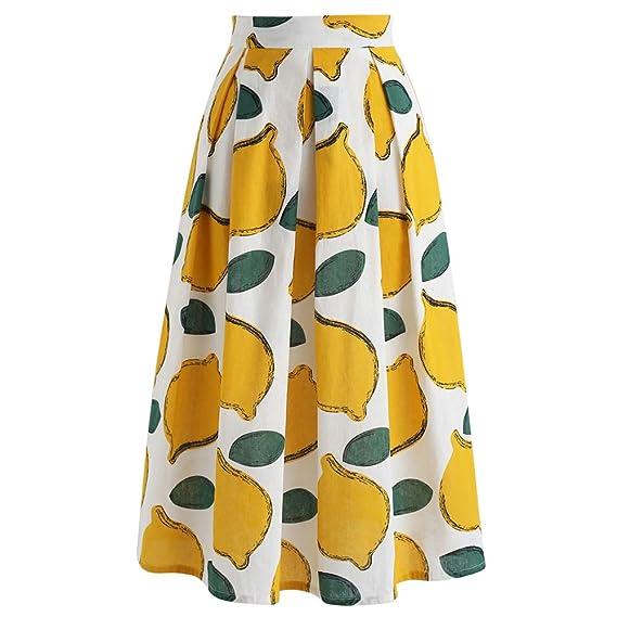 Chicwish Falda de Fiesta de Verano Amarillo limón A-Line Midi para ...