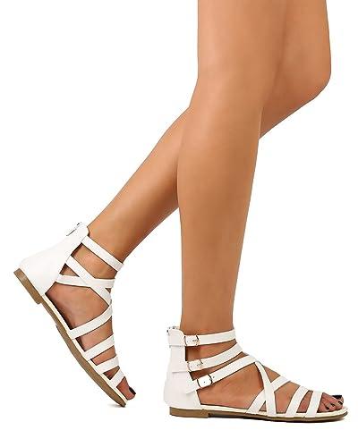 15fe5281330c8 STYLUXE Women Leatherette Open Toe Strappy Buckle Gladiator Sandal FJ51 -  White (Size  6.0