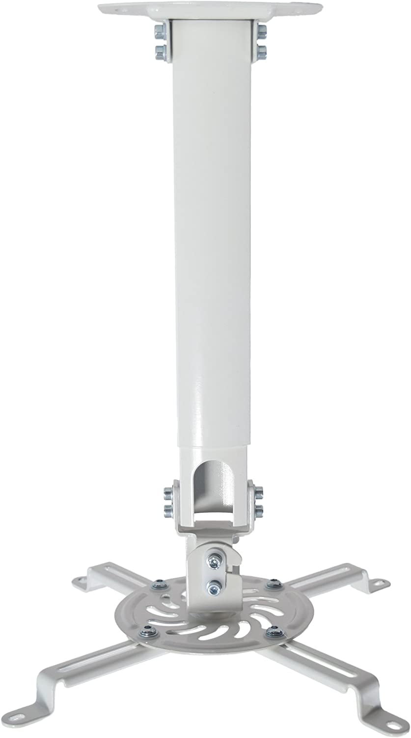 VIVO Universal Extending White Ceiling Projector Mount   Height Adjustable Projection (MOUNT-VP02W)