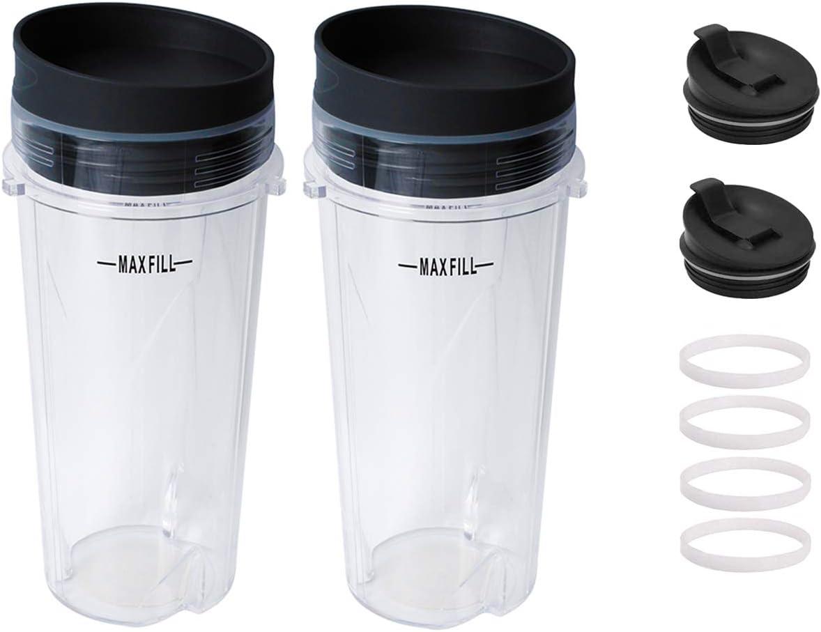 Gekufa 16oz Blender Cup Compatible with Nutri Ninja Kitchen Blender BL200 BL201 BL203 BL204 BL205 BL206 BL207 BL208 with 2 Lids & 2 Seal Lids & 4 Gaskets (2 Pack)