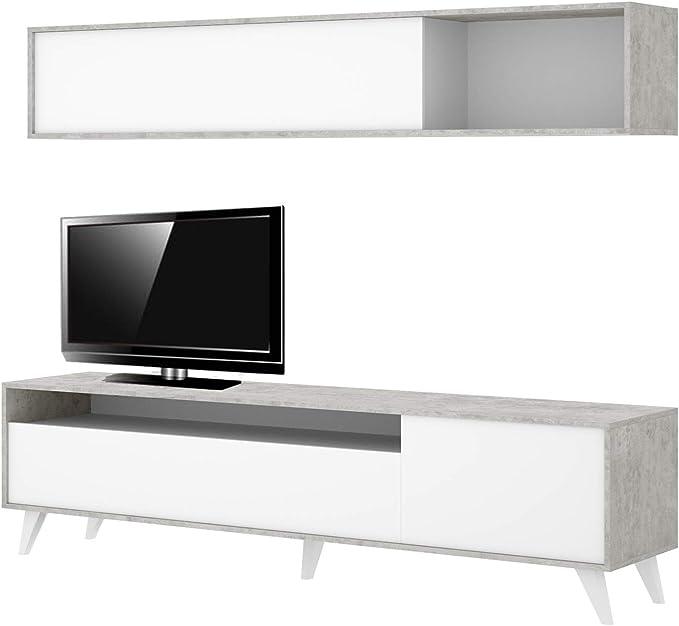 HABITMOBEL Mueble de salón Moderno, modulos Comedor, Medidas: 180 cm de Altura x 180 cm de Ancho x 41 cm de Fondo (Blanco y Gris Cemento): Amazon.es: Hogar