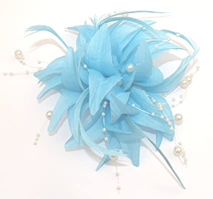 PALE BLUE FASCINATOR CAN BE WORN BOTH IN THE HAIR OR PINNED TO JACKET   Amazon.co.uk  Kitchen   Home 46e6778c19b