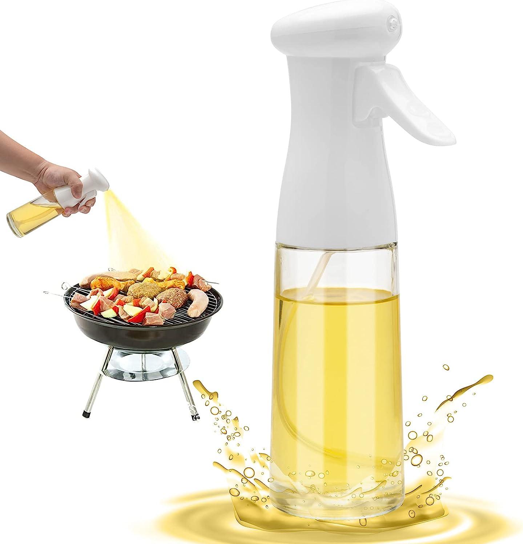 Olive Oil Sprayer for Cooking - 200ml Glass Oil Dispenser Bottle Spray Mister - Refillable Food Grade Oil Vinegar Spritzer Sprayer Bottles for Kitchen, Air Fryer, Salad, Grilling, Frying(White)