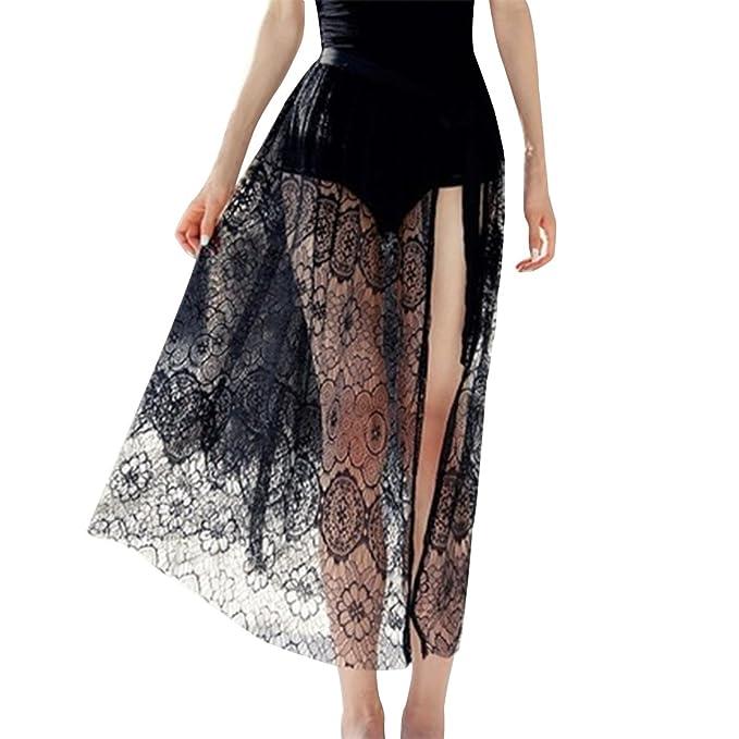 Lapaya Womens Bikini Swimwear Cover Up Slit Sheer Floral Lace