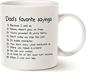 MAUAG Fathers Day Gifts Funny Dads Favorite Sayings Coffee Mug Christmas Gifts, Funny Dadisms Written in a Top Ten List, Best Birthday and Holiday Gifts for Dad, Father Cup, White 11 Oz