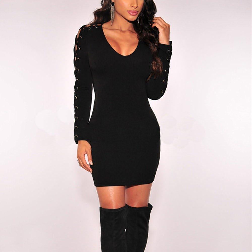 Kleid Damen Mode Frauen O-Ausschnitt Langarm Bandage Solid Party Abend Kurzes Minikleid Damen Einfaches Kleider Damen Pullover Kleid-Pwtchenty